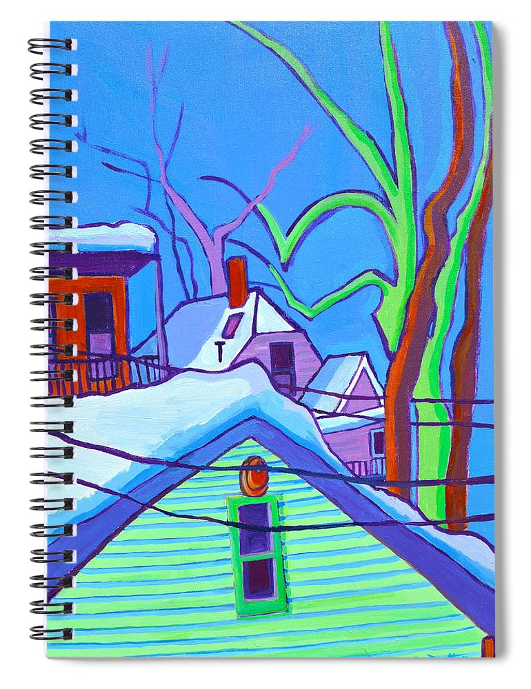 Buildings Spiral Notebook featuring the painting Sheffield Winter by Debra Bretton Robinson