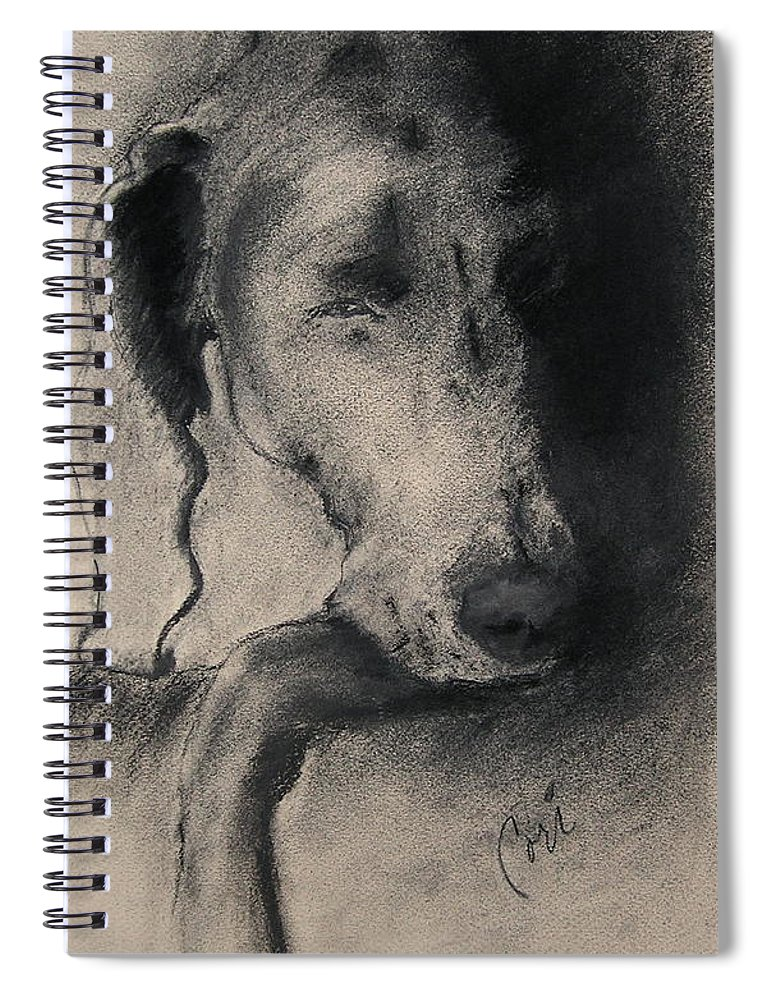 Weimaraner Spiral Notebook featuring the drawing Silhouette by Cori Solomon