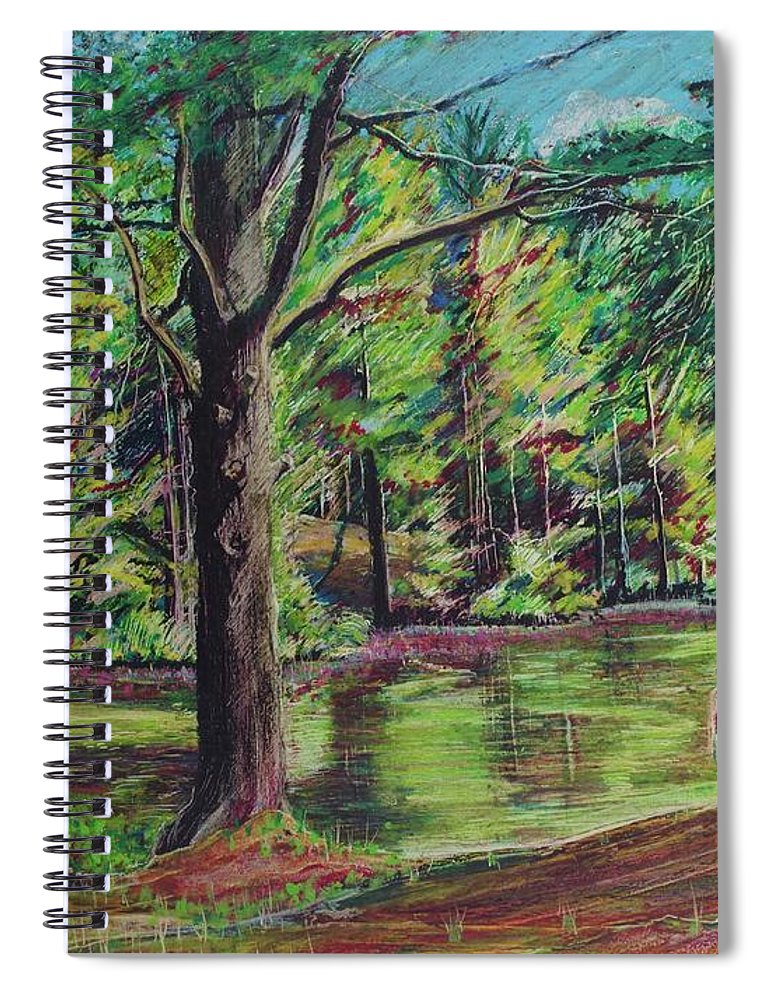 Family Spiral Notebook featuring the pastel Sisters At Wason Pond by Sean Connolly