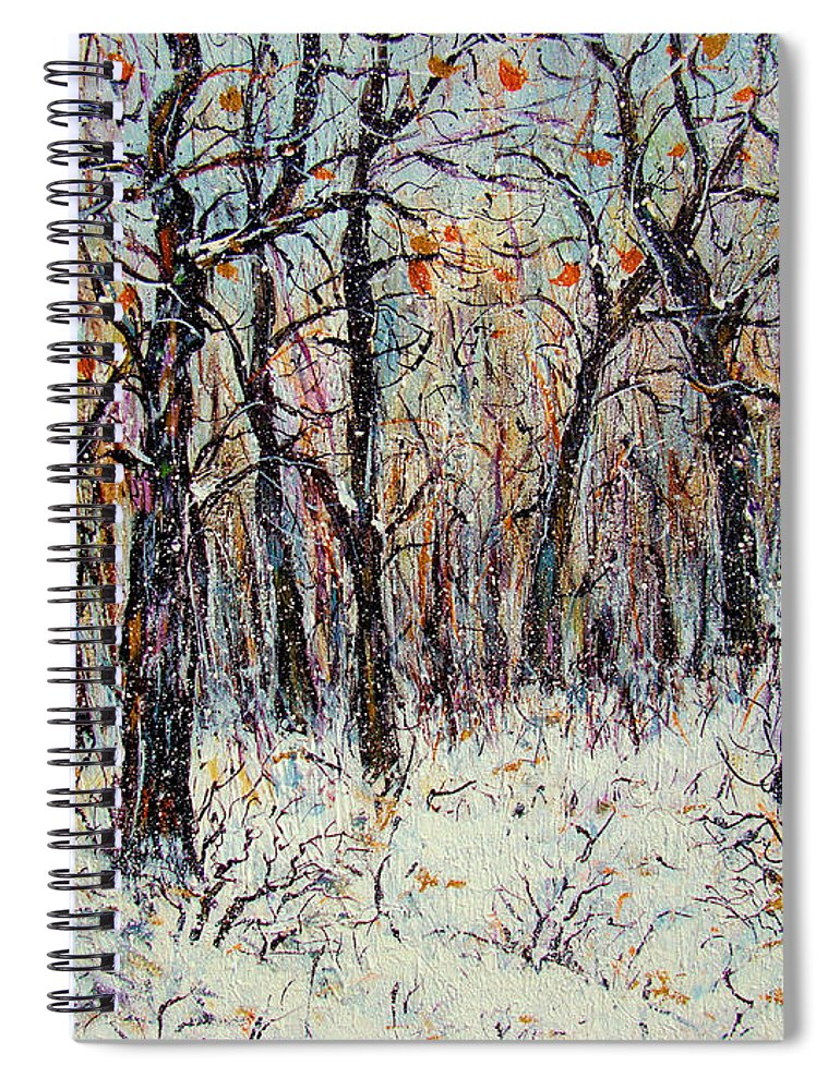 Landscape Spiral Notebook featuring the painting Snowing In The Forest by Natalie Holland
