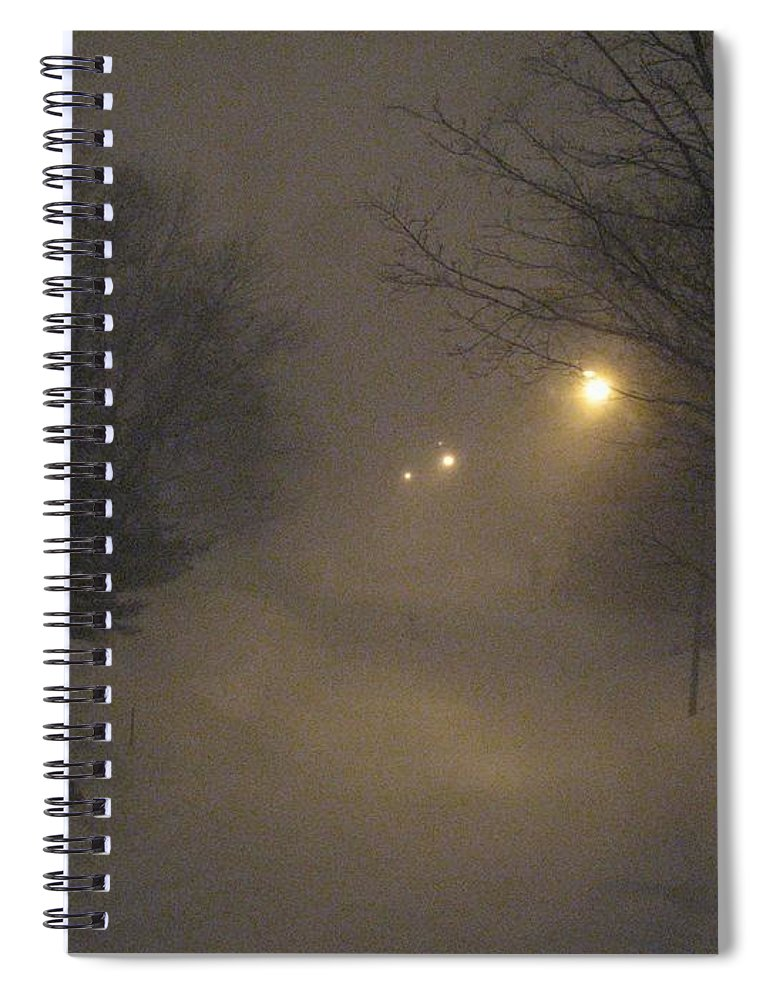 Snow Spiral Notebook featuring the photograph Snowy Night by Mary Ellen Mueller Legault