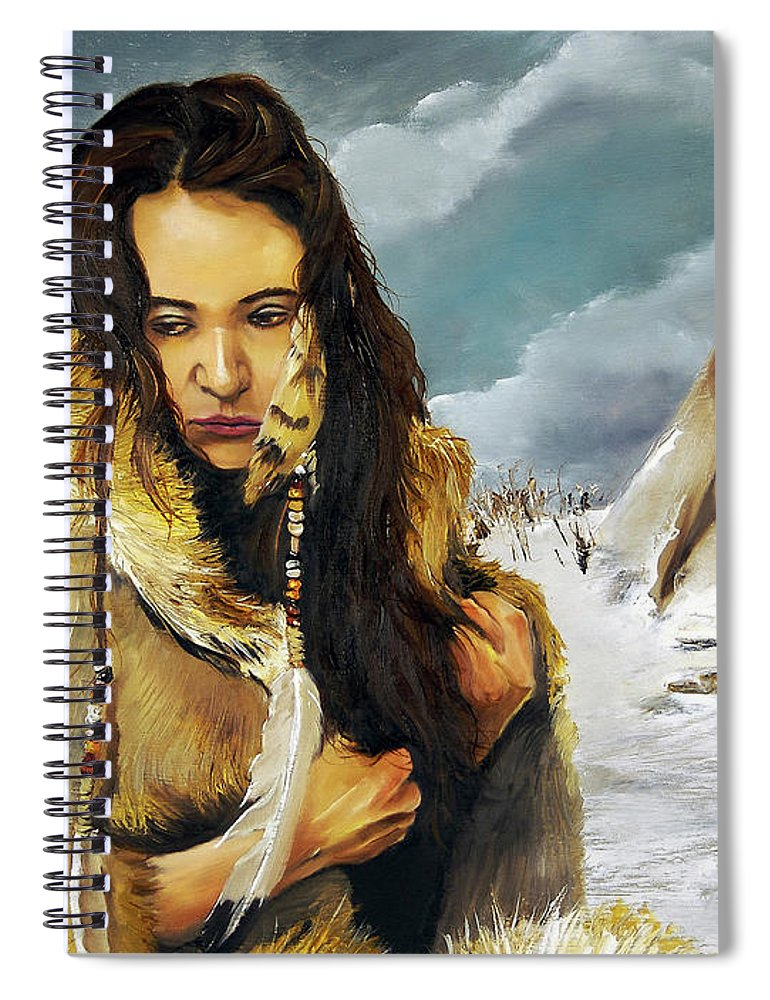Southwest Art Spiral Notebook featuring the painting Solitude by J W Baker