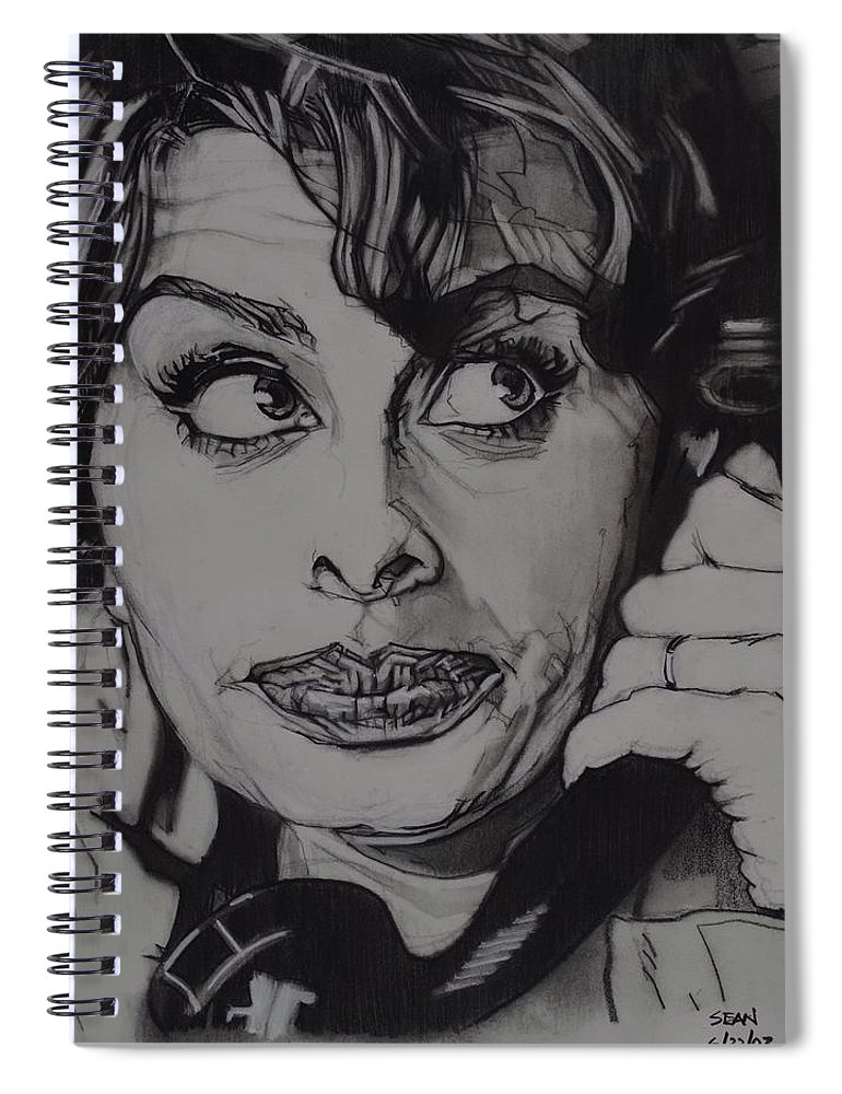 Charcoal On Paper Spiral Notebook featuring the drawing Sophia Loren Telephones by Sean Connolly