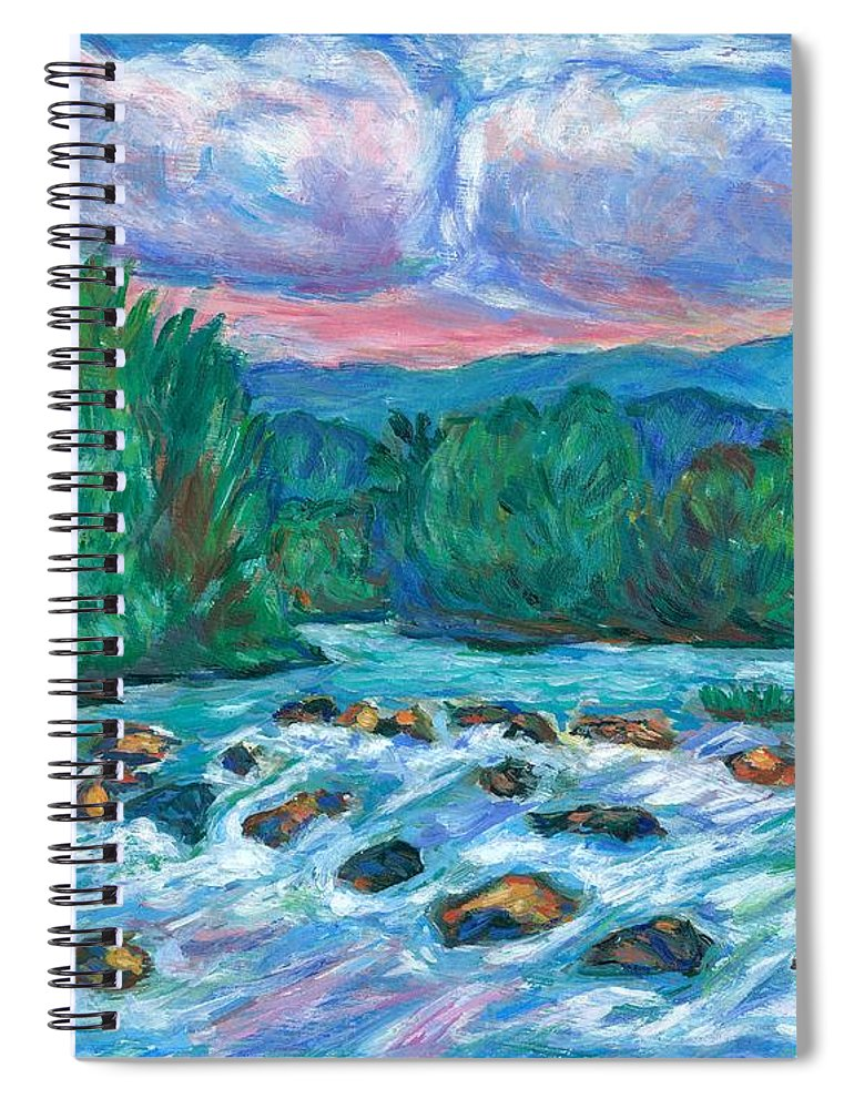 Landscape Spiral Notebook featuring the painting Stepping Stones on the New River by Kendall Kessler