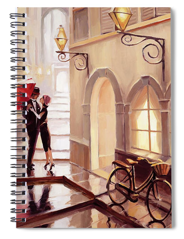 Love Spiral Notebook featuring the painting Stolen Kiss 2 by Steve Henderson