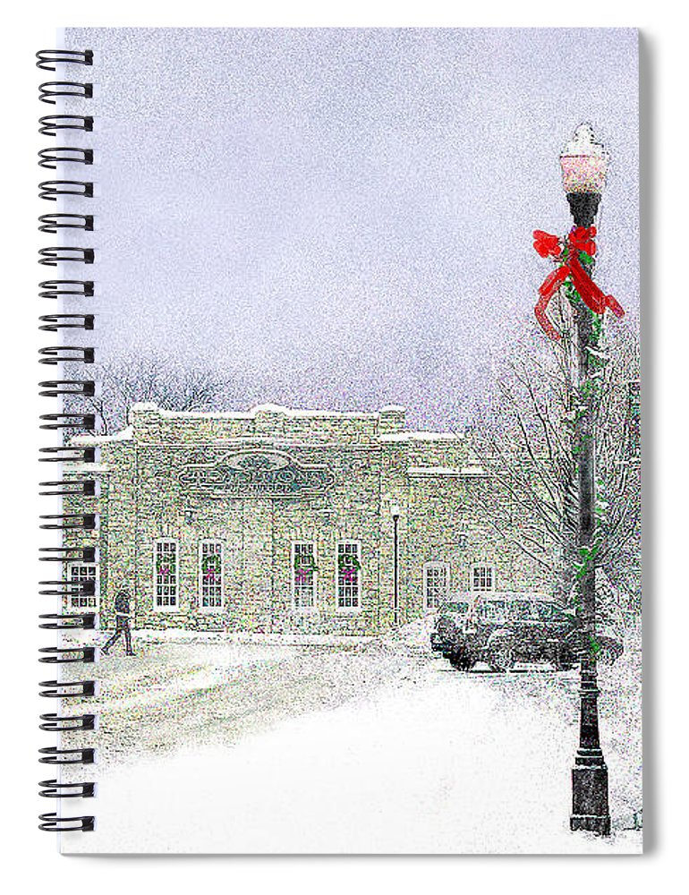 Snow Scene Spiral Notebook featuring the photograph Strang Car Barn in Winter by Steve Karol