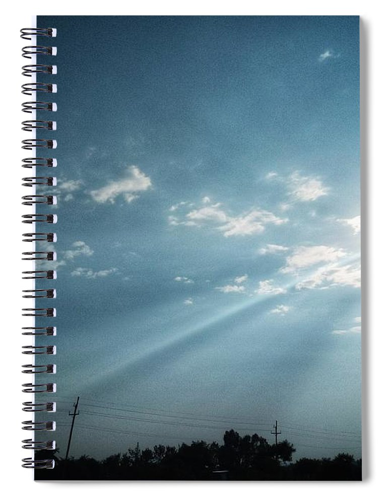 Sky Spiral Notebook featuring the photograph Striking rays by Yvonne's Ogolla