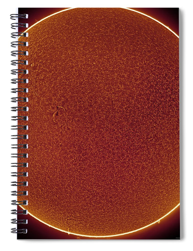 Spiral Notebook featuring the photograph Sun in Hydrogen-alpha by Prabhu Astrophotography