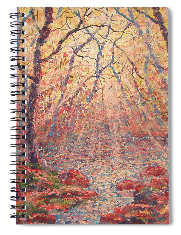 Painting Spiral Notebook featuring the painting Sun Rays Through The Trees. by Leonard Holland