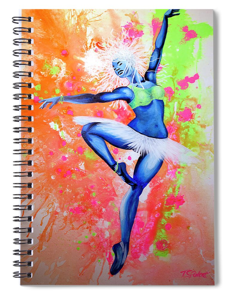 Jackson Spiral Notebook featuring the painting Sunrise by PushPullArts Inc