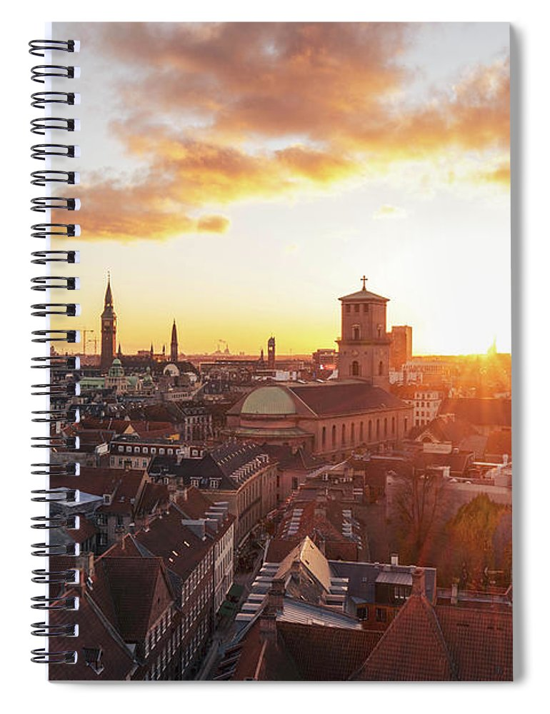 City Spiral Notebook featuring the photograph Sunset above Copenhagen by Hannes Roeckel