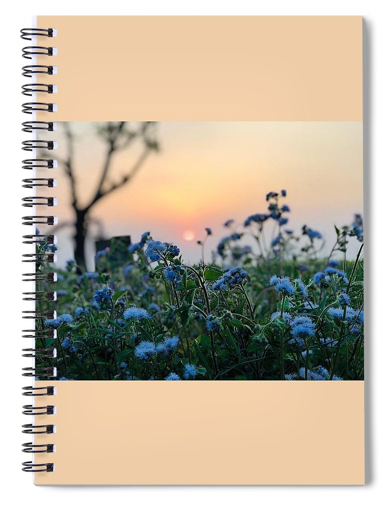 Flowers Spiral Notebook featuring the photograph Sunset Behind Flowers by Prashant Dalal