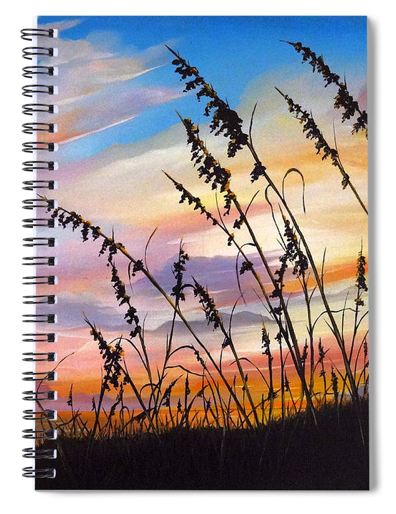 Ocean Painting Spiral Notebook featuring the painting Sunset Fort Desoto Beach by Karin Dawn Kelshall- Best