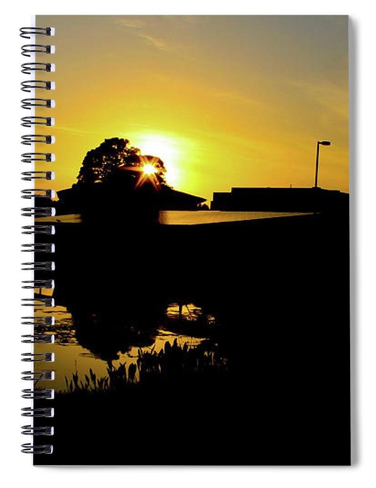 Landscape Spiral Notebook featuring the digital art Sunset over Building by Daniel Cornell