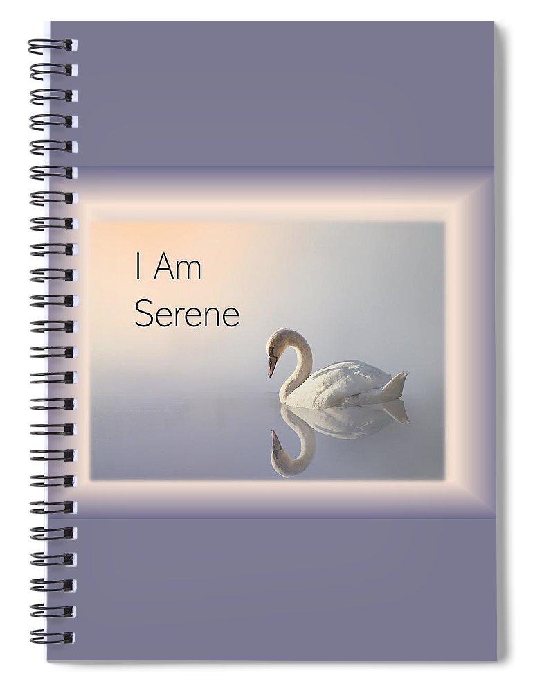 Swan Spiral Notebook featuring the photograph Swan I Am Serene by Nancy Ayanna Wyatt and PixxlTeufel