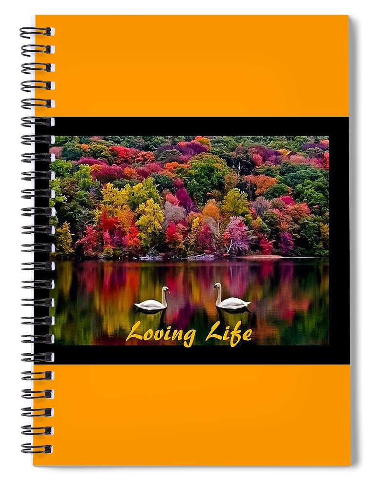 Swans Spiral Notebook featuring the photograph Swans Loving Life by Nancy Ayanna Wyatt and PixxlTeufel