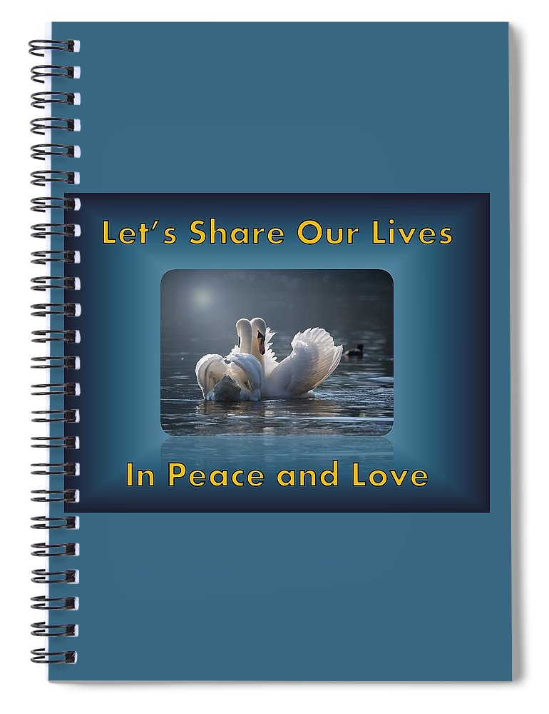 Swans Spiral Notebook featuring the photograph Swans Peace and Love by Nancy Ayanna Wyatt and PixxlTeufel