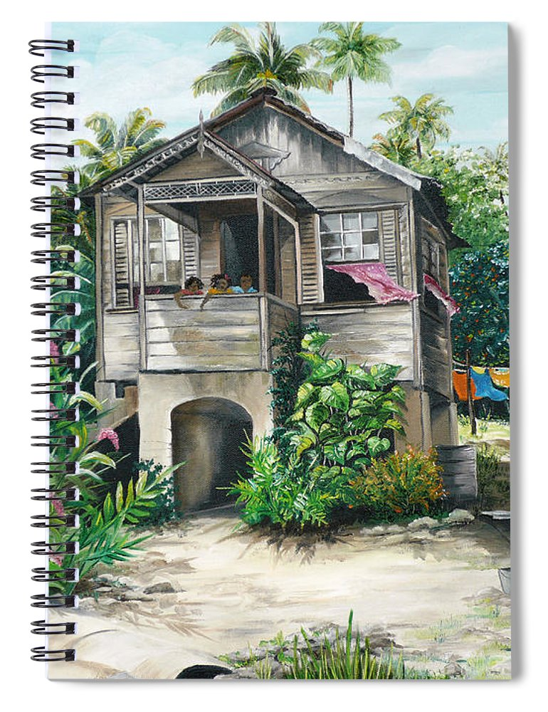 Landscape Painting Caribbean Painting House Painting Tobago Painting Trinidad Painting Tropical Painting Flamboyant Painting Banana Painting Trees Painting Original Painting Of Typical Country House In Trinidad And Tobago Spiral Notebook featuring the painting Sweet Island Life by Karin Dawn Kelshall- Best