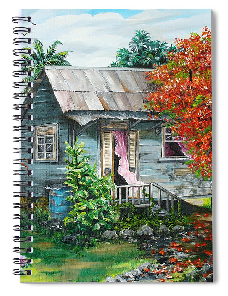 Caribbean Painting Original Painting Trinidad And Tobago ..house Painting Flamboyant Tree Painting Red Blossoms Painting Floral Painting Tree Painting Tropical Painting Spiral Notebook featuring the painting Sweet Tobago Life. 2 by Karin Dawn Kelshall- Best