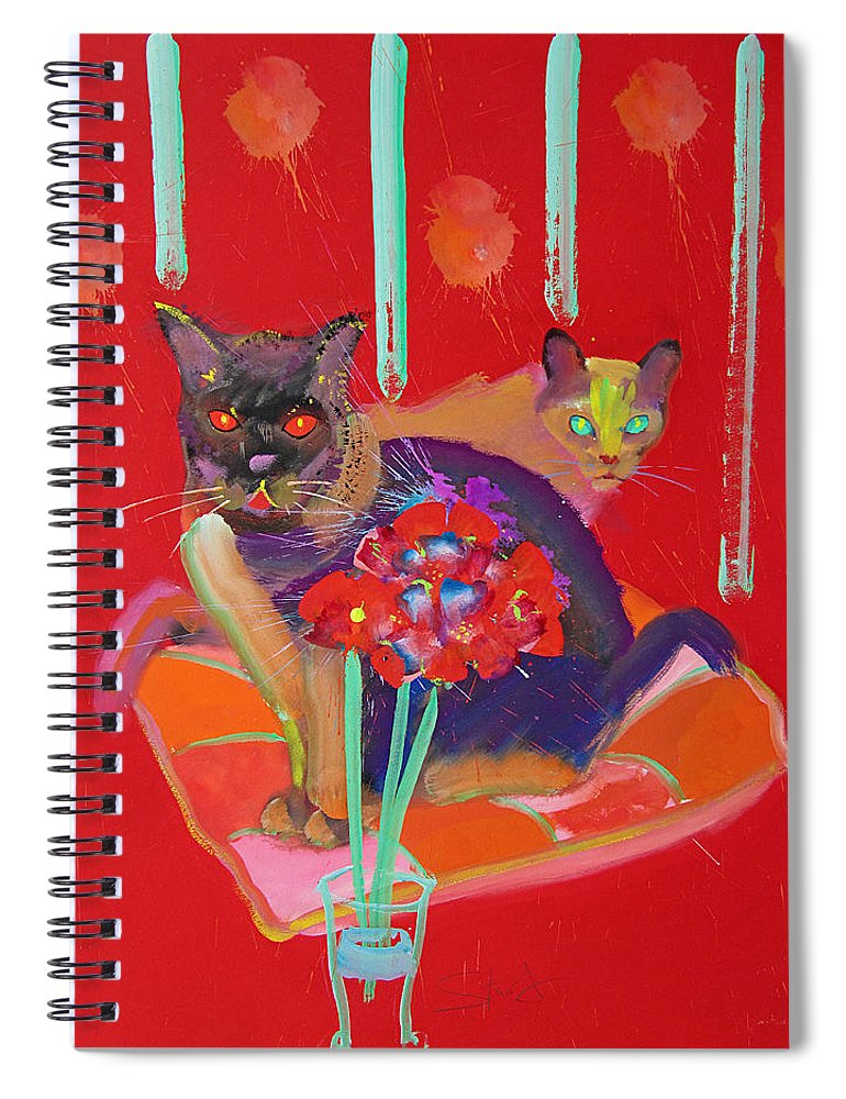 Burmese Cat Spiral Notebook featuring the painting Symphony In Red Two by Charles Stuart