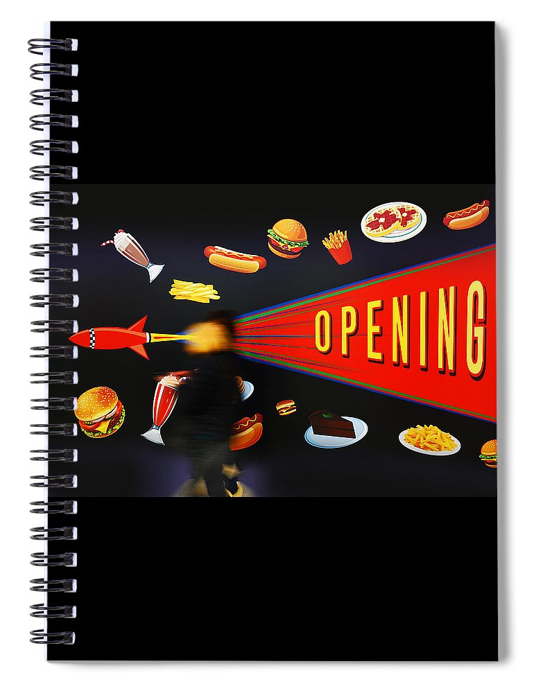 Opening Up The Diner Spiral Notebook featuring the painting Take Out Take Off by Charles Stuart