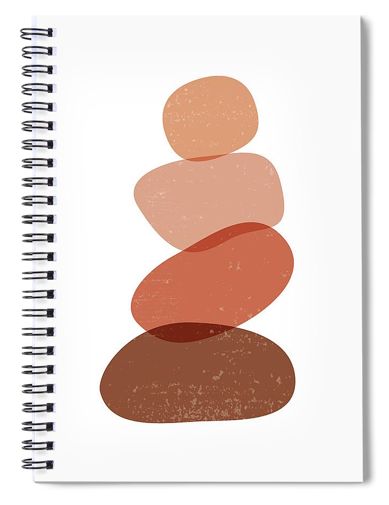 Terracotta Spiral Notebook featuring the mixed media Terracotta Abstract 60 - Modern, Contemporary Art - Abstract Organic Shapes - Zen Pebbles - Brown by Studio Grafiikka