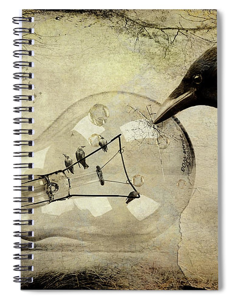 Birds Spiral Notebook featuring the digital art The Accomplice by Linda Lee Hall