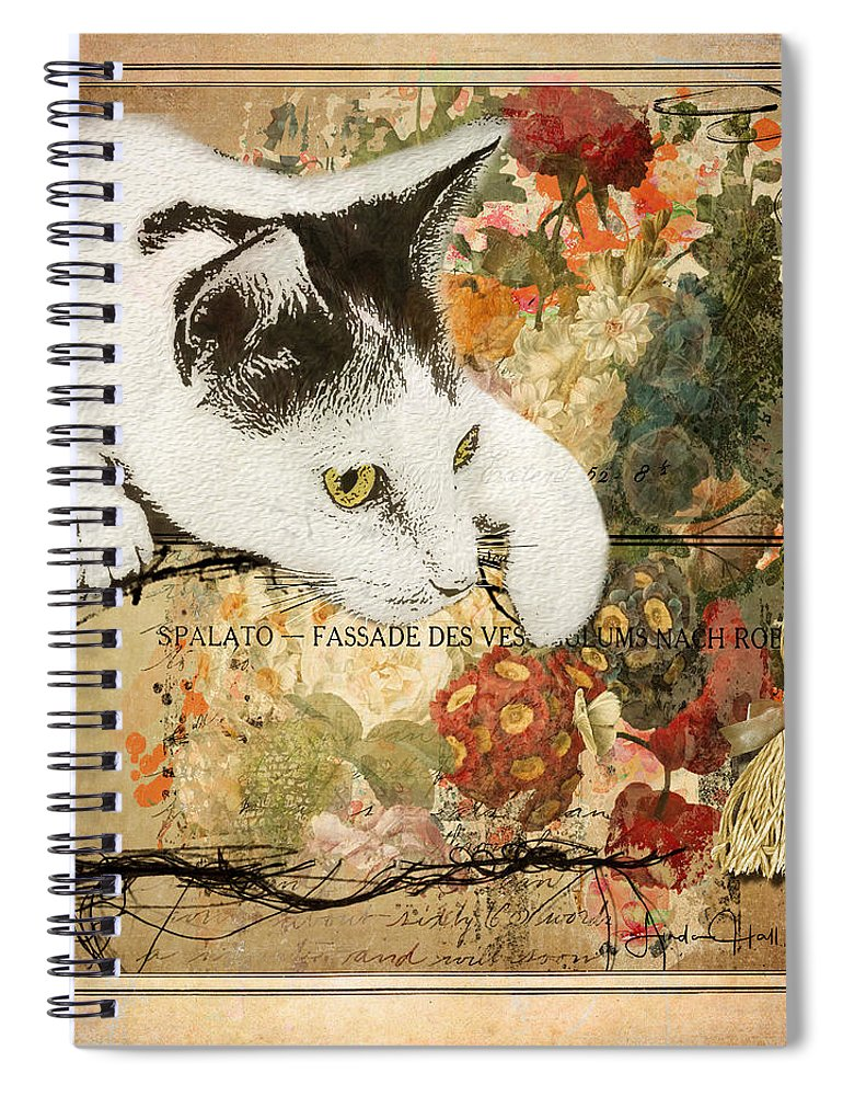 Red Spiral Notebook featuring the digital art The Curious One by Linda Lee Hall