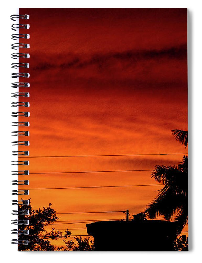 Sunset Spiral Notebook featuring the photograph The Fire sky by Daniel Cornell