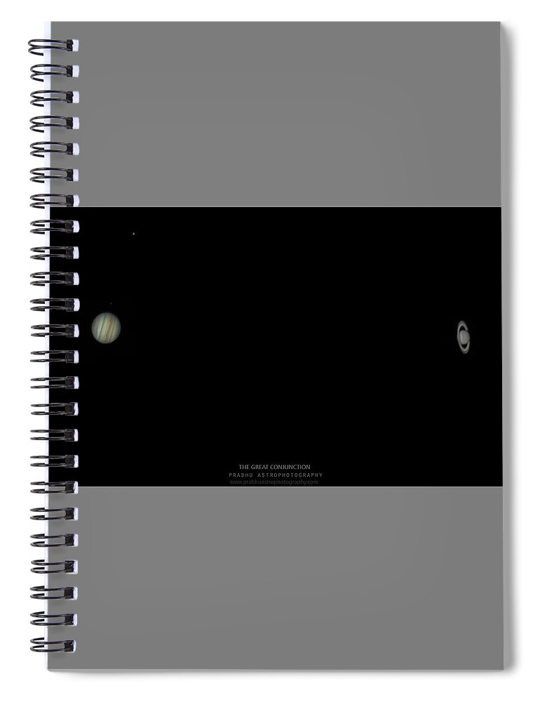 Spiral Notebook featuring the photograph The Great Conjunction of Jupiter and Saturn by Prabhu Astrophotography