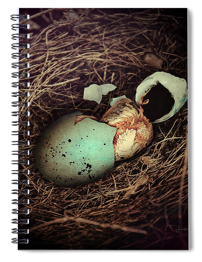 Conceptual Spiral Notebook featuring the digital art The Hatchling by Linda Lee Hall