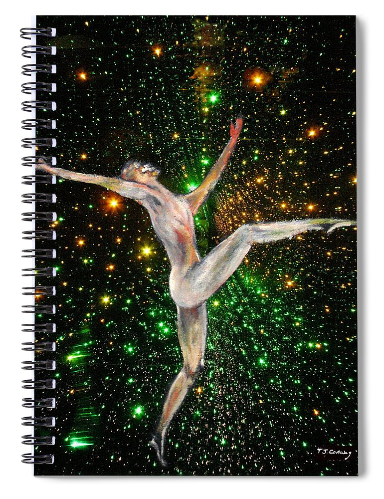 Dance Spiral Notebook featuring the painting The Light Fantastic Dance and Stars by Tom Conway