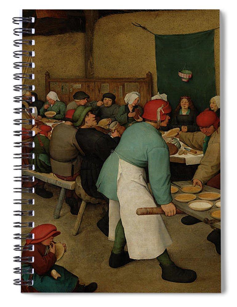 Pieter Bruegel The Elder Spiral Notebook featuring the painting The Peasant Wedding, 1567 by Pieter Bruegel the Elder