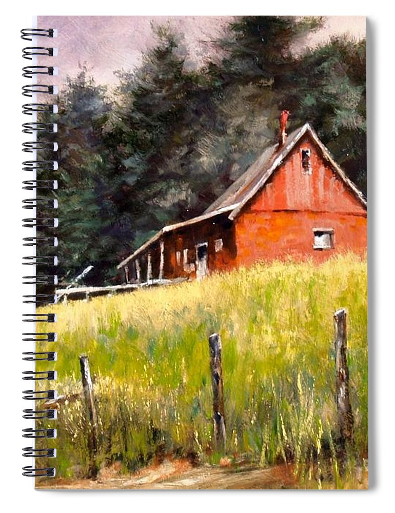 Landscape Spiral Notebook featuring the painting The Red Coach Stop by Jim Gola
