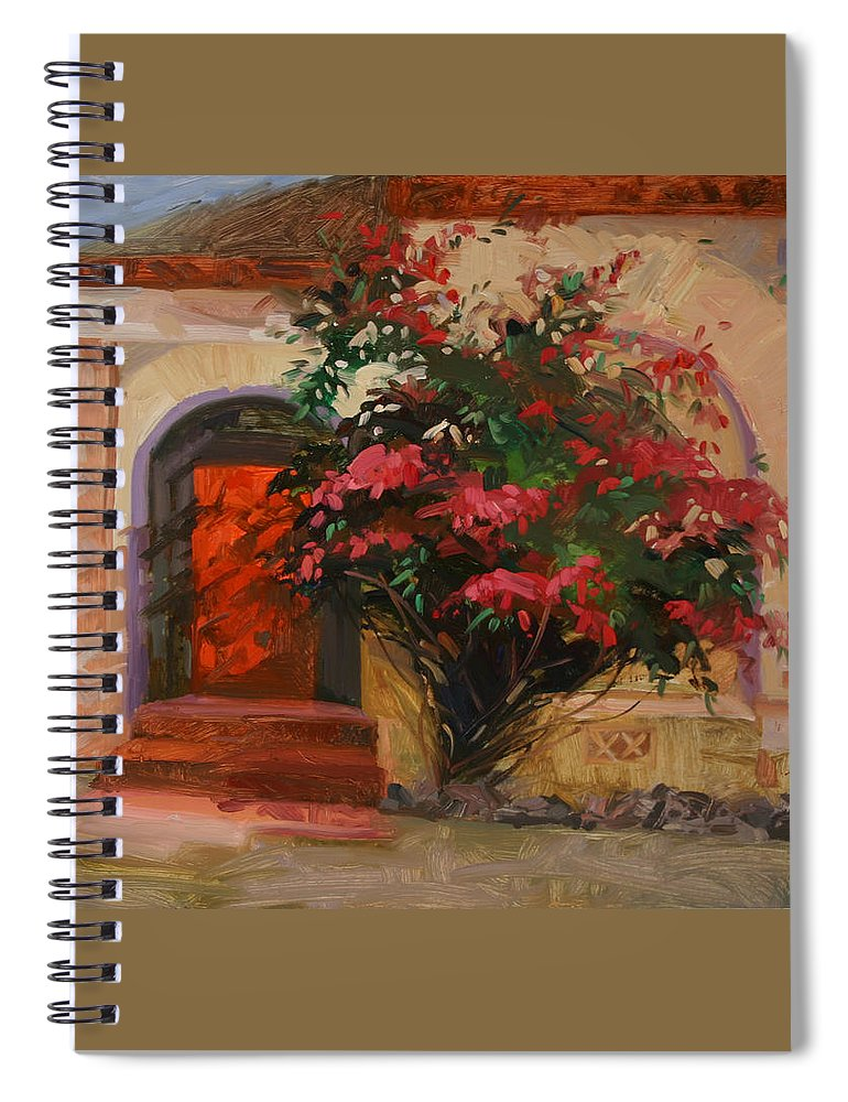 Catalina Island Ca Spiral Notebook featuring the painting The Red Door - Catalina Island by Betty Jean Billups