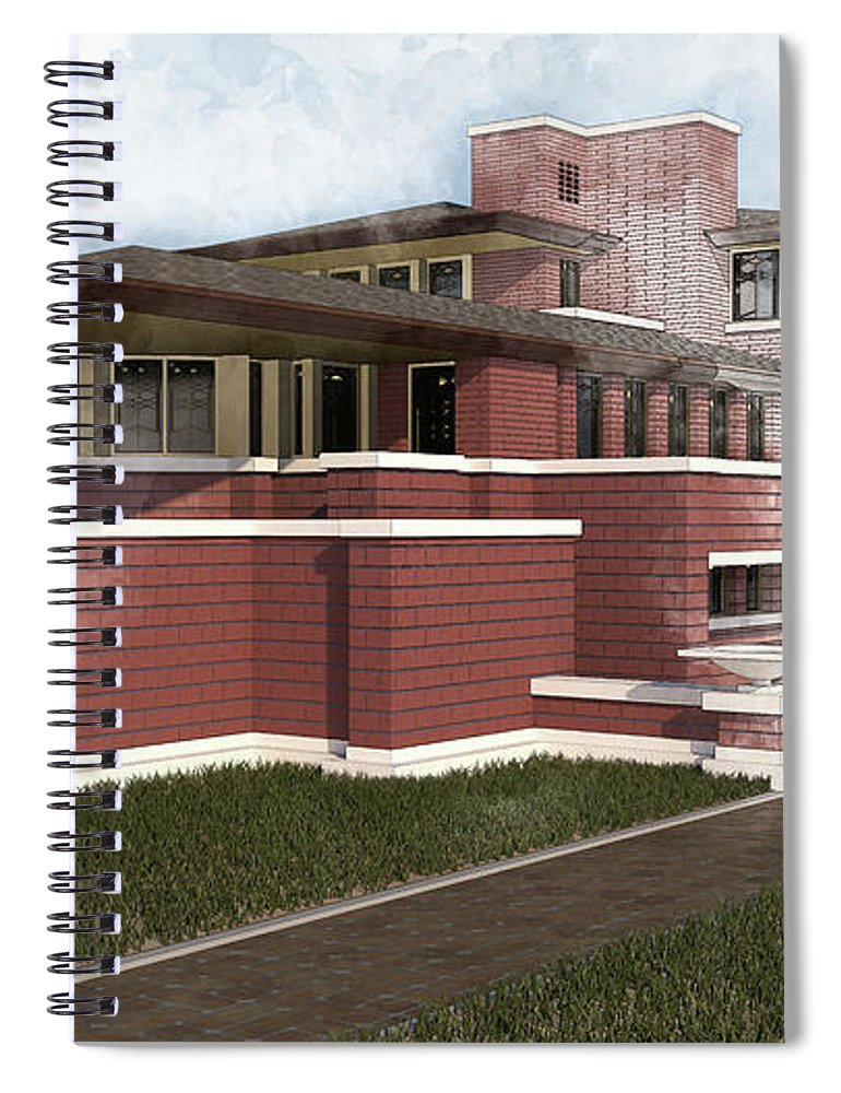 National Historic Landmark#robie House #chicago# Hyde Park#frank Lloyd Wright#architectural Rendering#architectural Design# Spiral Notebook featuring the photograph The Robie House by Louis Ferreira