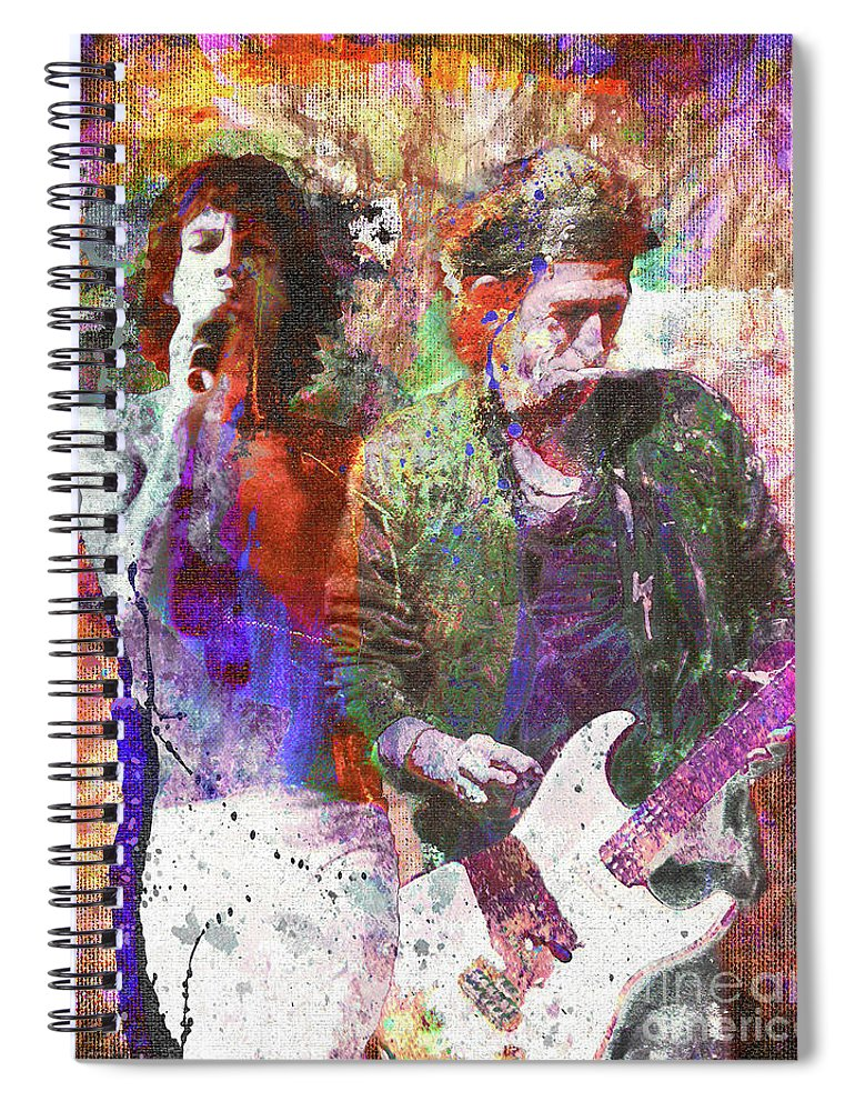 Rock Spiral Notebook featuring the painting The Rolling Stones Original Painting Print by Ryan Rock Artist