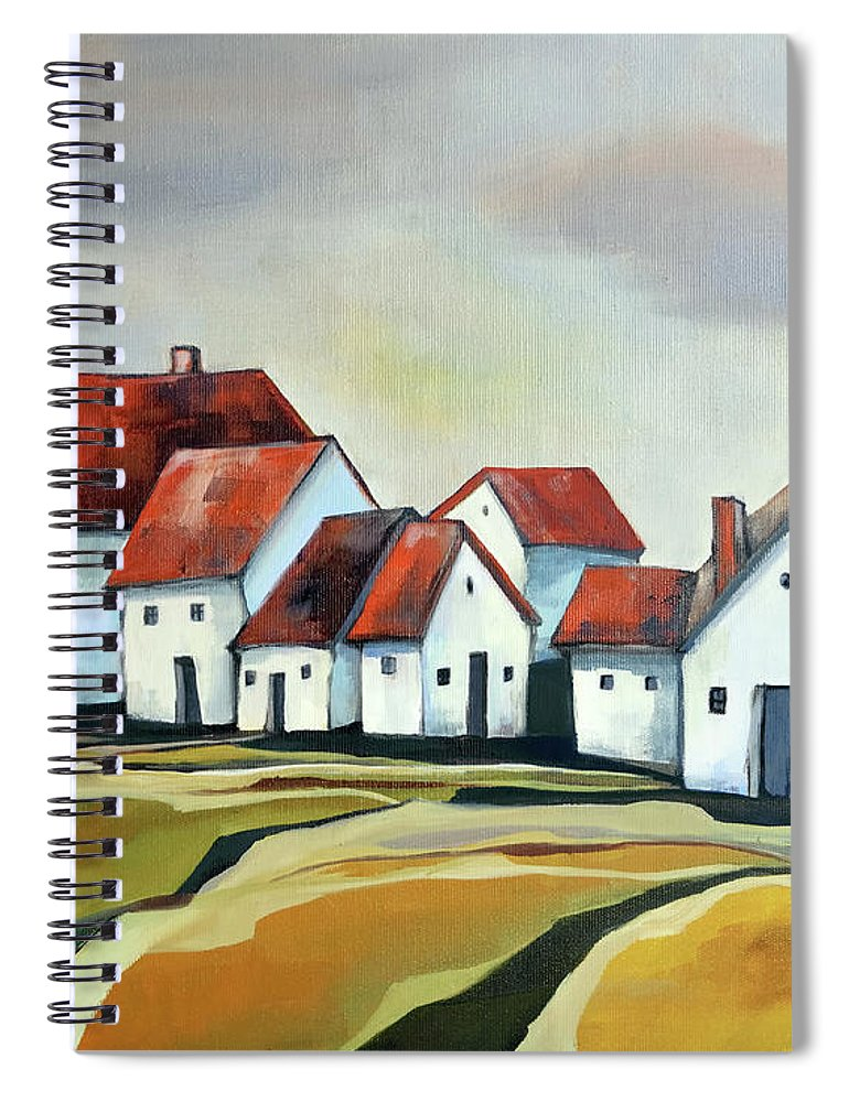 Village Spiral Notebook featuring the painting The smallest village by Aniko Hencz