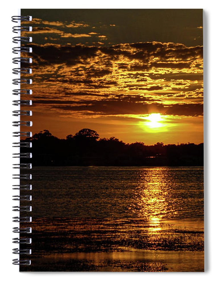 Sunset Spiral Notebook featuring the photograph The Sunset over the Lake by Daniel Cornell