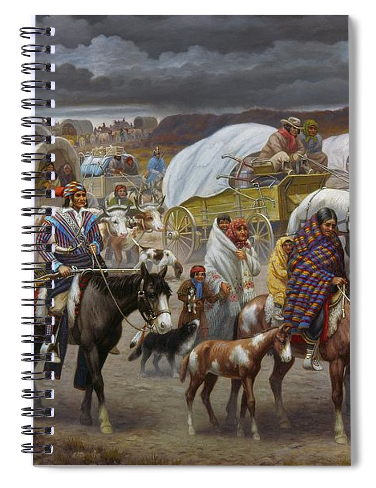 1838 Spiral Notebook featuring the painting The Trail Of Tears by Granger