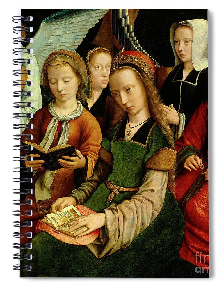 St Spiral Notebook featuring the painting The Virgin Among The Saints, Detail by Gerard David