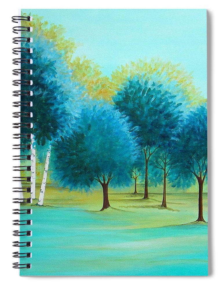 Social Spacing Spiral Notebook featuring the painting Three Birch Trees by Carol Sabo