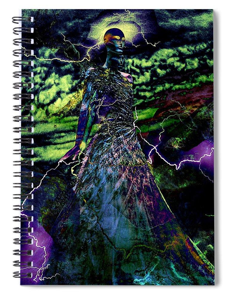 Surrealism Spiral Notebook featuring the digital art Thunder by Gunilla Munro Gyllenspetz