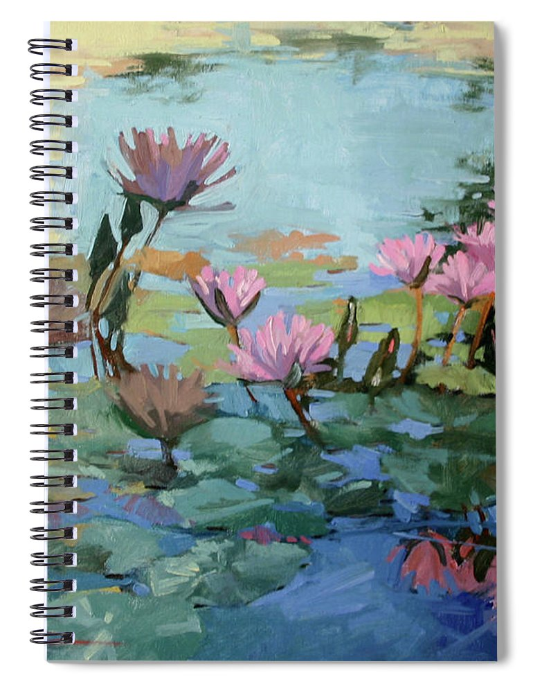 Floral Spiral Notebook featuring the painting Times Between - water Lilies by Betty Jean Billups