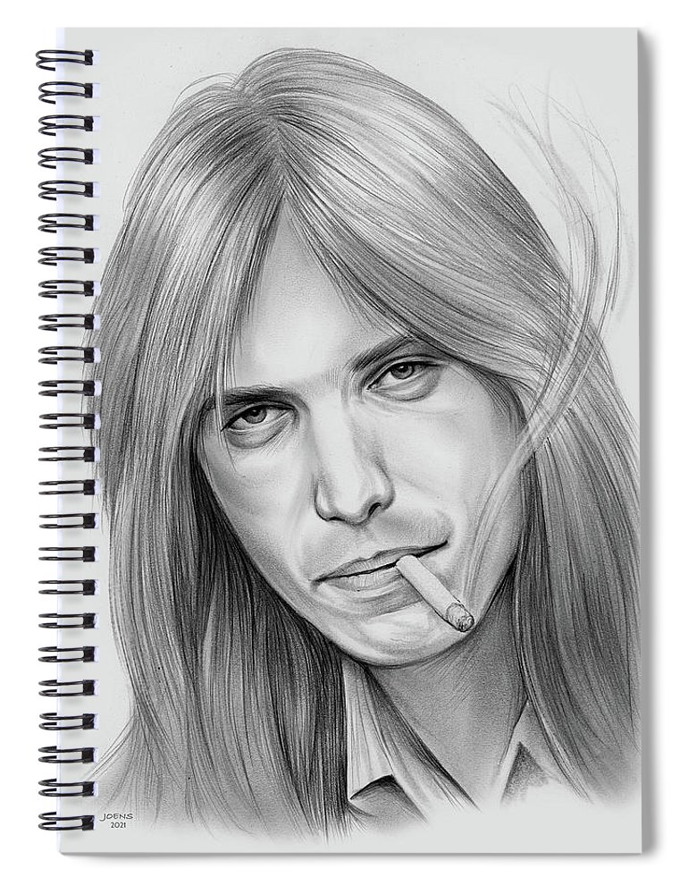 Tom Petty Spiral Notebook featuring the drawing Tom Petty - Pencil by Greg Joens