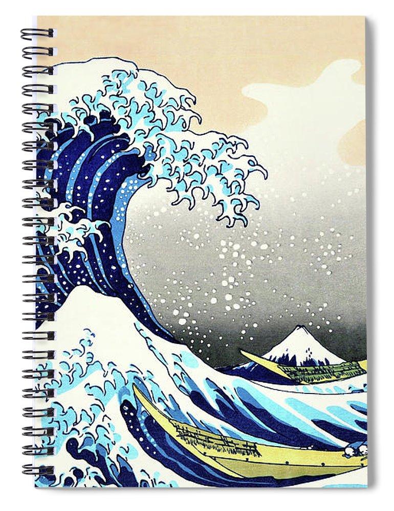 Katsushika Spiral Notebook featuring the painting Top Quality Art - The Great Wave off Kanagawa by Katsushika Hokusai