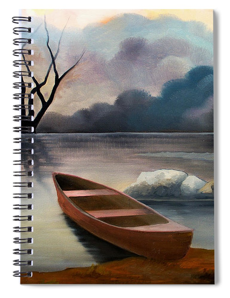 Duck Spiral Notebook featuring the painting Tranquility by Sergey Bezhinets