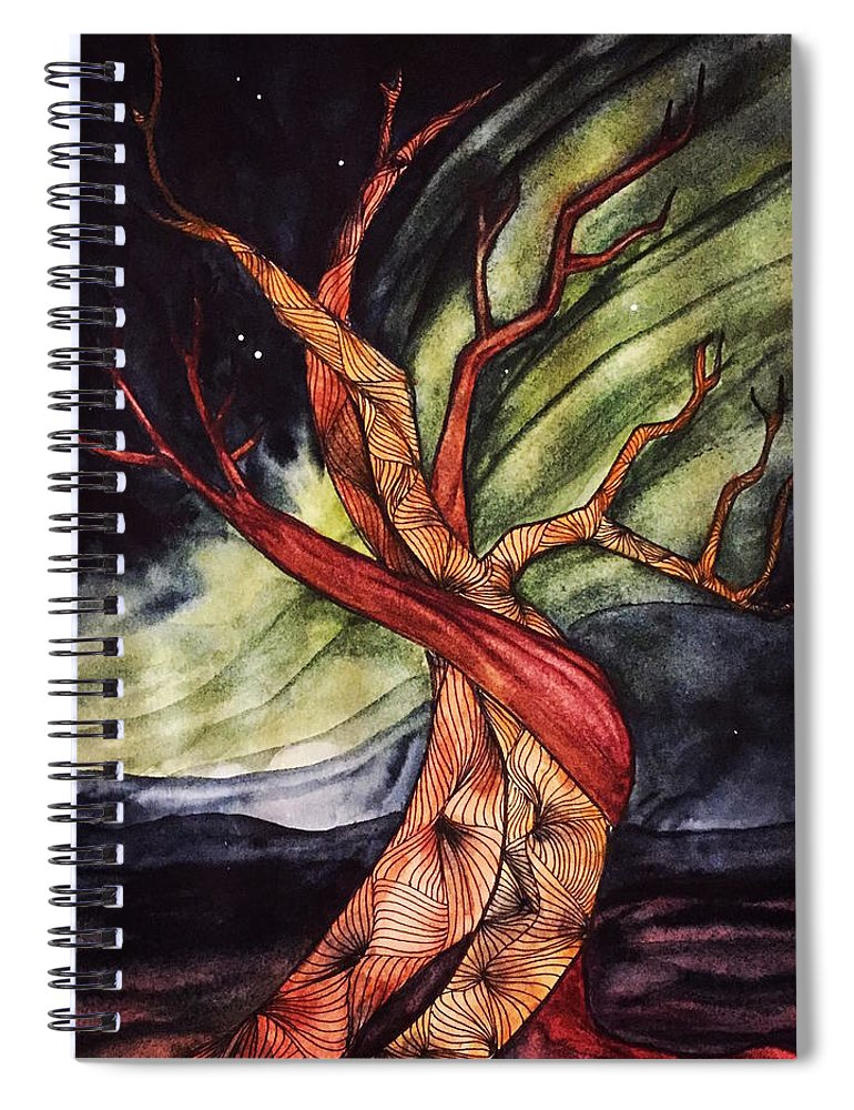 Tree Spiral Notebook featuring the painting Tree with Northern Lights by Vonda Drees