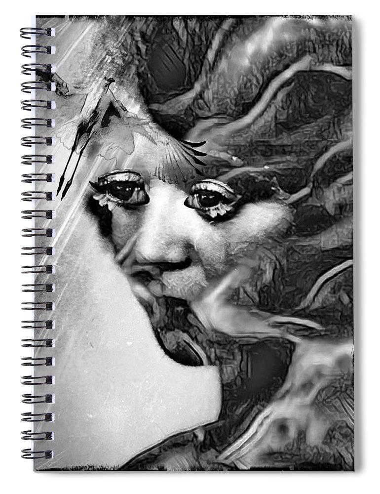 Surrealism Spiral Notebook featuring the digital art Tree woman by Gunilla Munro Gyllenspetz