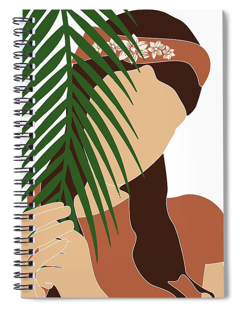 Tropical Spiral Notebook featuring the mixed media Tropical Reverie 12 - Modern, Minimal Illustration - Girl And Palm Leaves - Aesthetic Tropical Vibes by Studio Grafiikka